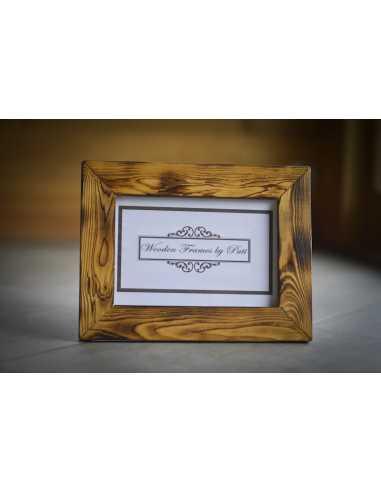 cadre photo bois brûlé